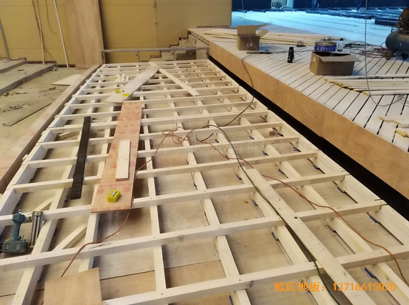 河北廊坊益田同文学校舞台体育地板铺设案例