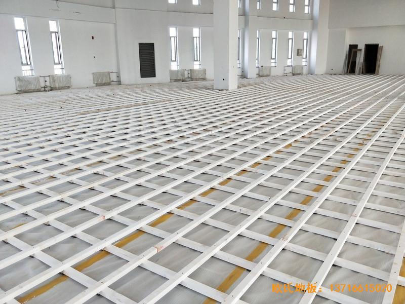 北京房山长阳小学篮球训练馆运动地板铺装案例